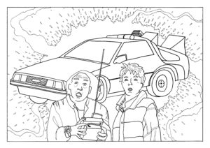 A black and white drawing of Marty and DOc from Back to the Future in front of a DeLorean
