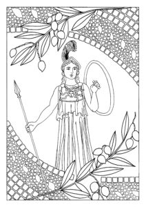A black and white drawing of Athena, the Greek Goddess of Wisdom and War