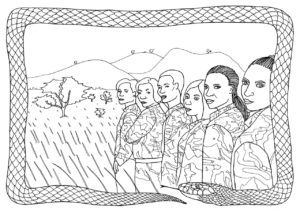 A black and white drawing of The Black Mambas