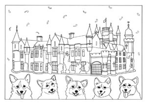 colouring in page showing Balmoral castle, and 5 corgis