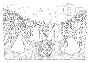 4 tents surrounded by trees and stars