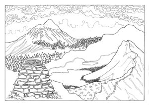 colouring in page showing a mountain scene