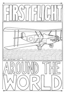 A colouring in page showing a plane and the words 'first flight around the world'.