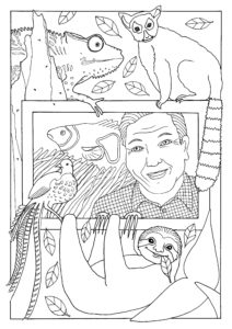 A colouring page showing David Attenborough, a chameleon, lemur, fish, peacock and sloth