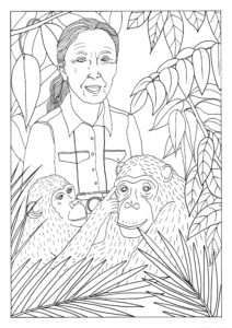 A black and white colouring in page of Jane Goodall surrounded by jungle foliage and two chimps