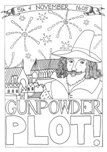 A colouring in page featuring Guy Fawkes in from of the Houses of Parliament
