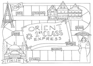 Colouring in page showing the journey that the orient Express train took from Paris to Istanbul