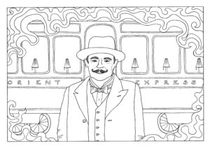 Colouring in page featuring Poirot stood in front of a carriage of the Orient Express