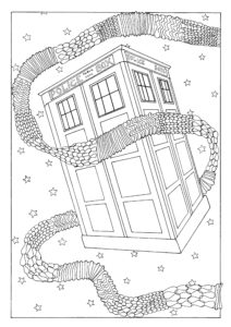 A colouring in page featuring the Tardis from Doctor Who