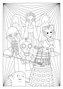 A colouring in page featuring some of Doctor Who's enemies