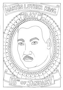 A colouring in page featuring a portrait of Martin Luther King