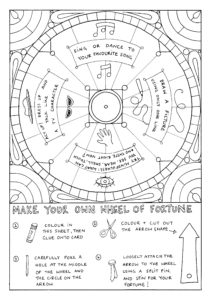 A colouring in page featuring activities written on a wheel of fortune