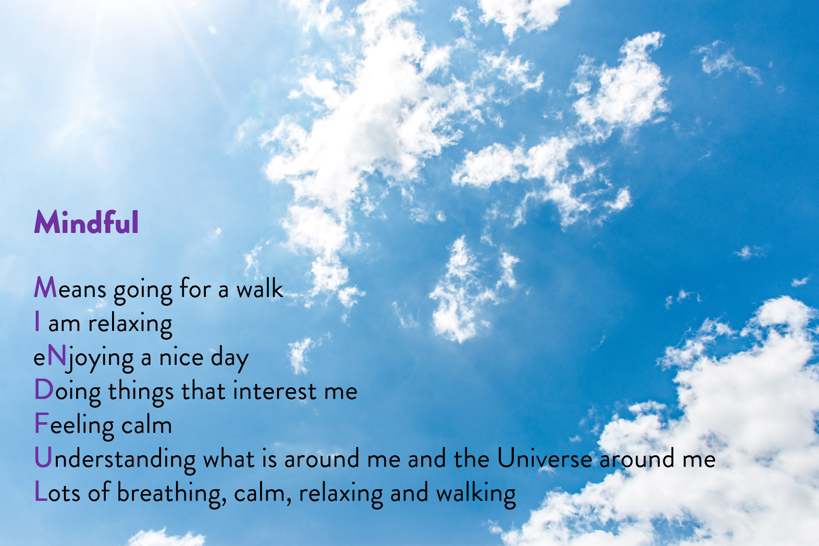 A mindful acrostic poem the To Wander team wrote together