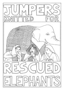 A coulouring page featuring an elephant in a knitted jumper