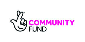 The National Lottery Community Fund logo, with a characterised crossed fingers image with a smiling face and the words 'community' in pink and 'fund' in black.